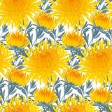 Yellow chrysanthemum repeatable pattern Stock Photography