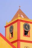 Yellow church. Church tower yellow with clock-Obidos city-Amazonia - Brazil Royalty Free Stock Photography