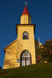 Yellow Church in the Chilean Lake District Stock Photography