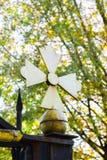 Yellow church cross royalty free stock photos