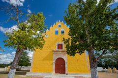 Yellow church in Cuzama, Mexico royalty free stock image