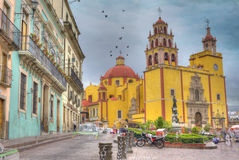 Yellow Church in Guanajuato, Mexico Royalty Free Stock Images