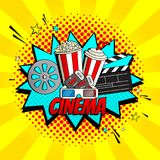 Yellow cinema banner template. Concept of movie watching symbol with pop corn, tickets and 3d glasses. Vector Illustration in Pop Art Style Royalty Free Stock Photography