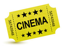 Yellow cinema ticket illustration design Stock Photos