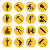 Yellow Circle Construction and Building Icons. With Various Tools and Workers Royalty Free Stock Photo