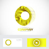 Yellow circle 3d logo Stock Image
