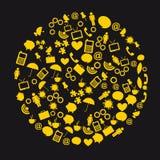 Yellow circle icons Stock Photo
