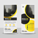 Yellow circle roll up business brochure flyer banner design , cover presentation abstract geometric background, Stock Images