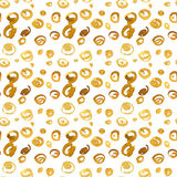 Yellow circles. Hand drawn watercolor seamless pattern background. Isolated on white background. Stains on a dark Royalty Free Stock Photography