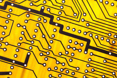 Yellow Circuit board close up. Royalty Free Stock Image