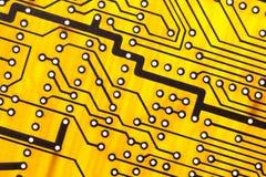 Yellow Circuit board close up. Royalty Free Stock Image