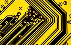 Yellow circuit board macro Royalty Free Stock Images