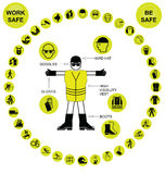 Yellow circular Health and Safety Icon collection Stock Images
