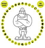 Yellow circular Health and Safety Icon collection Royalty Free Stock Photo