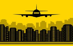 Yellow city background with plane Stock Photography