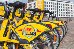 Yellow city bicycles for rent, Helsinki Stock Photos