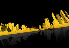 Yellow city with reflection. Stock Images