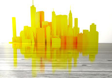 Yellow city skyline with wooden foreground Royalty Free Stock Photography