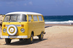 Yellow Classic Bus, Sand Beach, Vintage Van, Holidays Stock Photography