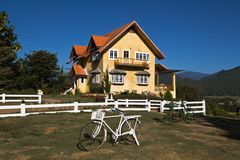 Yellow classic house on hill in pai district Stock Image