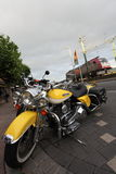 Yellow Classic Motorcycle Royalty Free Stock Images