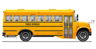 Yellow classic school bus. Side view. American education. Three-dimensional image with carefully traced details. Royalty Free Stock Photos