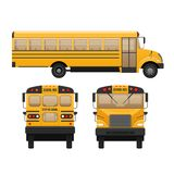 Yellow classic school children`s bus. Modern education. Traveling with children. Royalty Free Stock Image