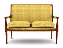 Yellow classic sofa isolated on white Royalty Free Stock Photo
