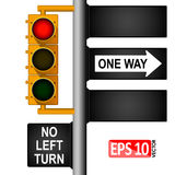 Yellow classic traffic light on a pole in the USA. Road signs. Regulation of traffic. Royalty Free Stock Image