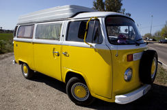 Yellow Classic Volkswagen T1 side view Stock Image