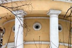 Yellow classical rotunda. In winter park. Russia Stock Photo