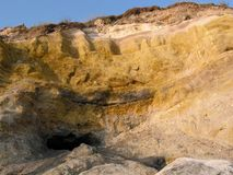 Yellow clay. This is yellow clay, immortalized at sunset. This panorama was photographed on the Lido di Cincinnato, near Anzio, Italy. People use this clay to Royalty Free Stock Photos