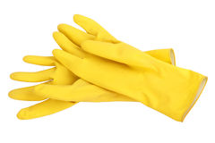 Yellow cleaning gloves Stock Image