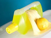 Yellow cleaning products Stock Images