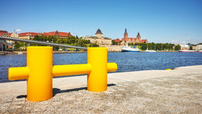 Yellow cleat at boulevard in Szczecin, Poland. Yellow cleat at boulevard in Szczecin, focus on foreground, shallow depth of field, Poland Royalty Free Stock Image