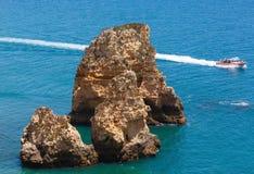 Yellow cliff near coast (Lagos, Algarve, Portugal). Stock Photography