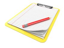 Yellow clipboard and blank lined paper. 3D render Stock Images