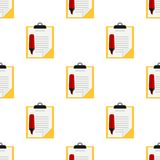 Yellow Clipboard Red Highlighter Pattern Stock Photos