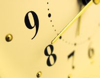 Yellow clock. Close-up, macroshooting Royalty Free Stock Photo