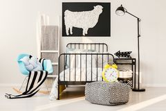 Sheep poster in kid`s bedroom Stock Photography