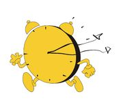 Yellow clock running Royalty Free Stock Photo