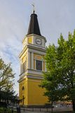 Yellow clock tower in Tampere Stock Photography