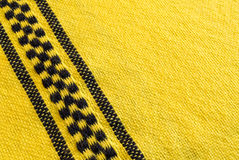 Yellow Cloth with Checks. Yellow Textile with Black Checkerboard patterm Royalty Free Stock Image