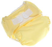 Yellow Cloth Diaper with Hook and Loop Closure Royalty Free Stock Photos