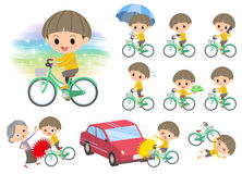 Yellow clothes Bobbed boy ride on city bicycle. Set of various poses of Yellow clothes Bobbed boy ride on city bicycle Stock Photos