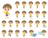 Yellow clothes Bobbed boy. Set of various poses of Yellow clothes Bobbed boy Stock Photography