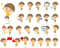 Yellow clothes Bobbed boy 2. Set of various poses of Yellow clothes Bobbed boy 2 Stock Images