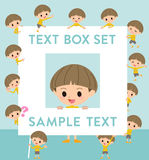 Yellow clothes Bobbed boy text box. Set of various poses of Yellow clothes Bobbed boy text box Royalty Free Stock Images
