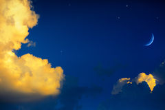 Yellow clouds on blue sky background. Art yellow clouds on blue sky background Royalty Free Stock Images