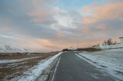 Yellow clouds on the island of Hrisey in Iceland Stock Images